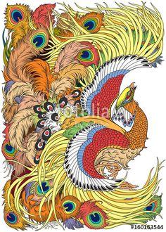 feng huang mythological bird ...vector illustration