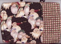 2 New Handmade Santa Christmas Holiday Potholders Hot Pads #Handmade  Good Tidings fabric by Diane Knott