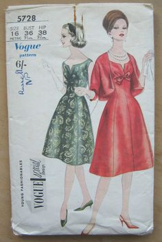 60s Vogue Dress Pattern - Vogue 5728 - Dress and Bolero Pattern - 1960s Dress Pattern - Vogue Special Design Full Skirt Dress Pattern by TheBrightonEmporium on Etsy
