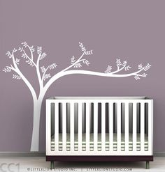 Monochromatic Leaning Tree Wall Decal - Super modern tree - White tree decal, beige tree, green tree