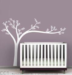 Monochromatic Leaning Tree Wall Decal - Super modern tree - White tree decal, beige tree, green tree