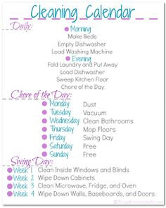 Frugal Mom and Wife: Free Printable Frugal Mom and Wife Cleaning Calendar!