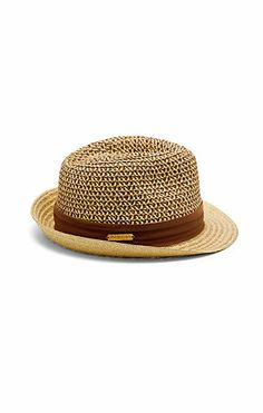 Patterned Crown Straw Fedora-A tri-fold ribbon band wraps tightly around the center as a girlish accent to the Patterned Crown Straw Fedora from Vince Camuto. A crisscross weave of two colors adds enough flair on top to cover for the simple bottom.