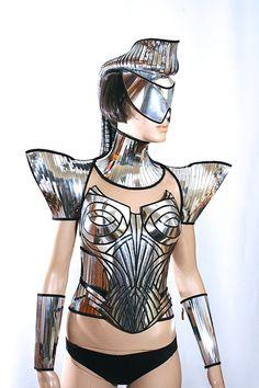 futuristic ponytail mohawk cyborg goggles , sci fi headdress , cyber eyewear, mask, goggles daft punk mask divamp couture