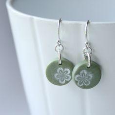 Spring Flower Polymer Clay Earrings - Green.