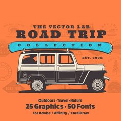 Road Trip - TheVectorLab Store Signage, Affinity Photo, Affinity Designer, Graphic Design Software, Photoshop Illustrator, Coreldraw, One Design, Graphic Design Inspiration, Outdoor Travel