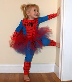 Add a tutu on any boy costume & it becomes a girl costume. For all those little girls that like to be super heroes too. Love this idea!!