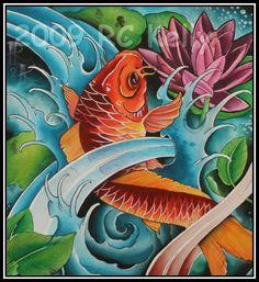 Japanese Koi Watercolor Print - Tattoo Art Beautiful Koi Painting, Silk Painting, Fish Paintings, Koi Art, Fish Art, Tenacious D, Zentangle, Japanese Watercolor, Winter Art Projects