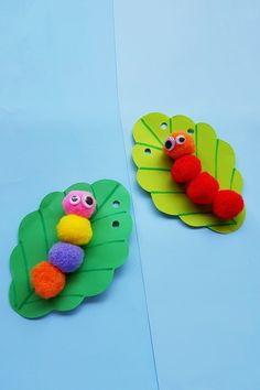 Caterpillar craft for kids using pom poms. This adorable caterpillar craft for preschoolers is perfect during Summer Crafts For Toddlers, Craft Activities For Kids, Toddler Crafts, Art For Kids, Elderly Activities, Dementia Activities, Physical Activities, Physical Education, Insect Crafts