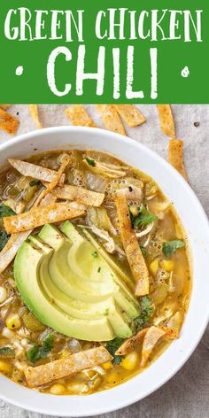 This Easy Green Chicken Chili uses mild roasted Hatch peppers and rotisserie chicken for a quick delicious kid-friendly soup Use fresh-roasted frozen or jarred Hatch chiles We love it topped with crispy tortilla chips and sliced avocado Easy Appetizer Recipes, Healthy Soup Recipes, Mexican Food Recipes, Dinner Recipes, Cooking Recipes, Soup Appetizers, Oven Cooking, Cooking Utensils, Kids Soup Recipes