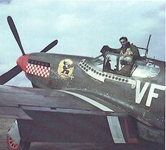"""Gentile in the cockpit of his P-51B. After downing 3 planes on April 8, he was the top scoring 8th Air Force ace when he crashed  """"Shangri La"""", on April 13, 1944 while stunting over the 4th FG's airfield at Debden for a group of assembled press reporters and movie cameras. His CO, Blakeslee, immediately grounded Gentile as a result, and he was sent back to the US for a tour selling war bonds. ,"""