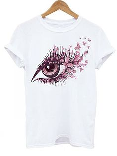 Round Neck Printed Short Sleeve T-Shirts Find latest women's clothing, dresses, tops, outerwear, and other fashion clothing and enjoy the worldwide shipping # Shirt Collar Types, Types Of Collars, Look T Shirt, Shirt Style, T Shirt World, T Shirts For Women, Clothes For Women, Direct To Garment Printer, Printed Shorts