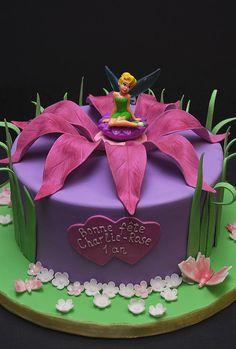 Tinkerbell Birthday Cakes, Fairy Birthday Cake, Beautiful Birthday Cakes, Bolo Tinker Bell, Barbie Cake, Fairy Cakes, Character Cakes, Disney Cakes, Novelty Cakes