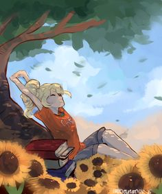 Annabeth stretching... I know the feeling - Just like us fangirls ;)