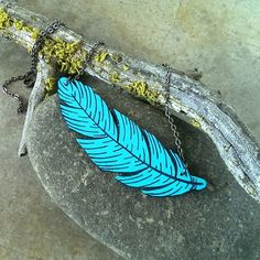 Wood feather necklace blue and black by CrowsdanceDesigns on Zibbet! #zibbet