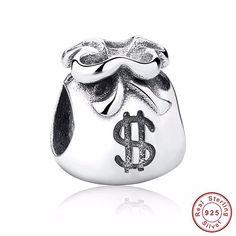 mall Beautiful Money Bags 925 Sterling Silver Charm Beads Fit Pandora European Charms Bracelet Y Pandora Bracelet Charms, Charm Bracelets, Pandora Jewelry, Mommy Jewelry, Silver Purses, Fitness Bracelet, Bijoux Diy, E Bay, Pendant Jewelry