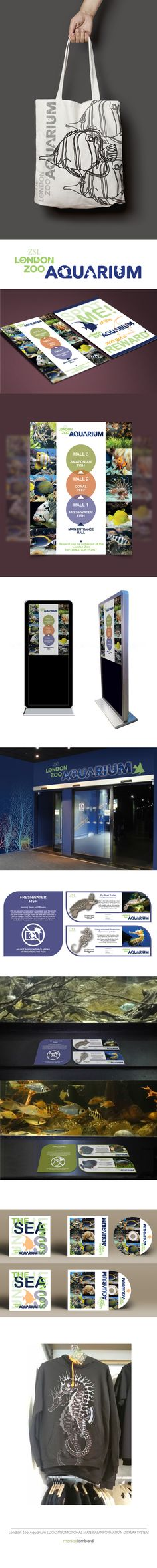 London Zoo Aquarium . Logo Design . Merchandising . Promotional Material . Information Display System - by Monica Lombardi http://www.monica-lombardi.com https://www.pinterest.com/monicalombardi1/