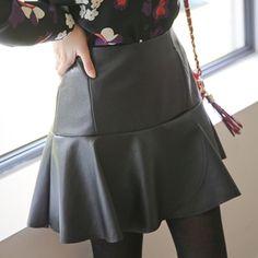 Korea womens shopping mall [styleberry] Mermaid Flare Leather Skirt   / Size : S,M / Price : 43.45 USD #korea #fashion #style #fashionshop #styleberry #lovely #skirt #leather #dailylook #dailyskirt #black