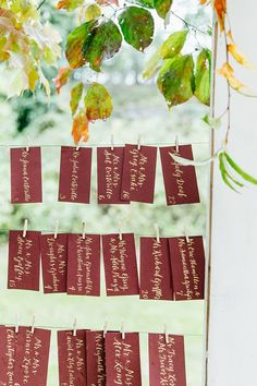 Escort Cards with Fall Leaves
