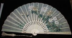"""Victorian Hand Fan Embroidered Flowers Hand Painted Japonaise Style 20"""" Open"""