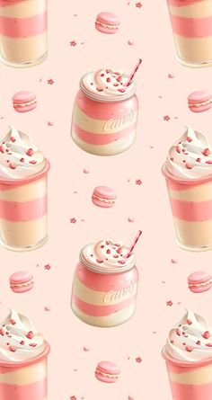 Strawberry Coffee Cream iPhone Wallpaper Home Screen @PanPins