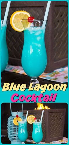 The Blue Lagoon is a popular summertime cocktail that's perfect for hot weather, lawn chairs and the beach. Combining Vodka, Curacao and Lemonade makes this one easy cocktail! #cocktail #recipe #vodka #lemonade #bluelagoon #curacao #drinks