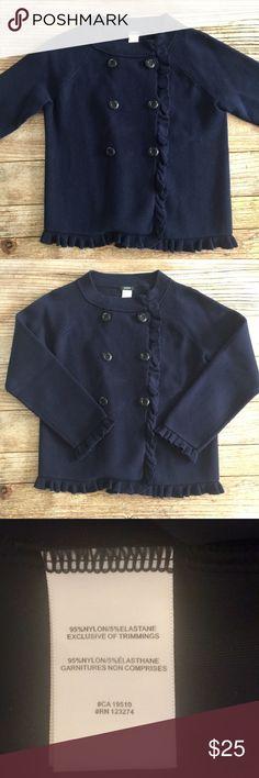 J. Crew navy blue sweater size medium. EUC J. Crew navy blue sweater size M. 3/4 length sleeves, double breasted with ruffle trim J. Crew Sweaters