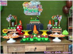 Plants vs. Zombies themed birthday party via Kara's Party Ideas KarasPartyIdeas.com Cakes, decor, desserts, cupcakes, printables, and more! #plantsvszombies #plantsvszombiesparty #karaspartyideas (12)