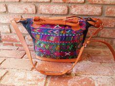 Guatemalan Leather & Textile Huipil Bag