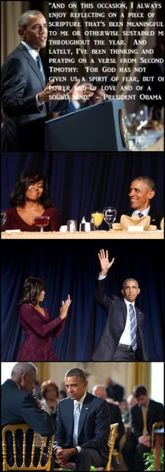 """God has not given us a spirit of fear, but of power and of love and of a sound mind,"" the President Barack Obama said. #44thPresident #BarackObama #received applauds from #FirstLady #MichelleObama and other #guests after #speaking at the #National #Prayer #Breakfast in Washington, D.C. February 2016 #Obama44 #ObamaLegacy #ObamaHistory #ObamaLibrary #ObamaFoundation Obama.org"