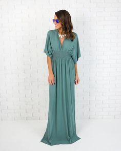 Kimona Maxi Dress - Dusty Seafoam