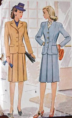 1940's McCall Two Piece Suit Pattern  Bust 30 by backroomfinds, $9.95