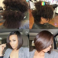Natural silk press- we have like the exact same texture. My hair better look like this lol. --- this is so dope, i freaking love her hair! Pelo Natural, Natural Hair Tips, Natural Hair Styles, Natural Hair Silk Press, Natural Hair Bob Cut, Silk Press Hair, Flat Twist Out, My Hairstyle, Love Hair