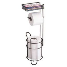 Discounted mDesign Freestanding Metal Wire Toilet Paper Roll Dispenser Holder and Extra Roll Reserve with Storage Shelf for Cell, Mobile Phone - Bathroom Storage Organization - Holds 3 Rolls - Bronze Check more. Loo Roll Holders, Toilet Paper Holder Stand, Free Standing Toilet Paper Holder, Toilet Paper Dispenser, Paper Roll Holders, Toilet Paper Storage, Best Toilet Paper, Tissue Paper Roll, Storage Shelves