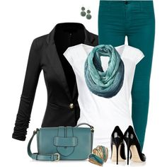 """Turquoise Jeans and Black Blazer"""