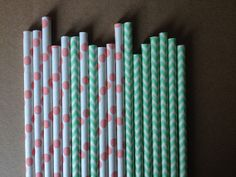 On Sales-50 Coral Pink And Mint Green Paper Straws,Assorted Dotted & Chevron Wedding Cake Pops,Cake Pop Sticks W/PDF Printable Flags