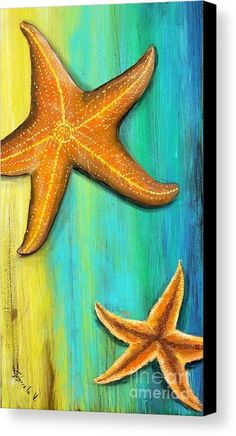 Canvas Print featuring the painting Starfish by Gabriela Valencia