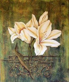 Купить Лилии. картина в объемной технике - зеленый, лилии, объемная картина, фактура цветка