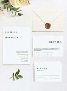 Modern Wedding Invitation Suite Templett Set Harper Minimalist Wedding Invitation Template Set Black and White Wedding Invitation