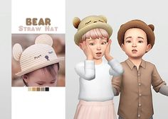 Toddler Bear Straw Hat by Waekey for The Sims 4 Sims 4 Toddler Clothes, Sims 4 Cc Kids Clothing, Sims 4 Mods Clothes, Children Clothing, Mods Sims 4, The Sims 4 Bebes, Sims 4 Anime, Maxis, Pelo Sims