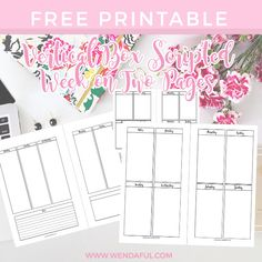 Vertical Boxed Week On Two Pages Planner Inserts | Wendaful