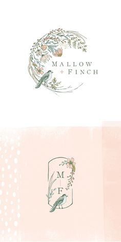 A lovely floral and feminine logo design for Mallow & Finch by Calico Hill Creat. - A lovely floral and feminine logo design for Mallow & Finch by Calico Hill Creative. A lovely flora - Logo Floral, Flower Logo, Logo Design Flower, Floral Design, Wedding Logo Design, Wedding Logos, Graphisches Design, Brand Design, Logo Fleur