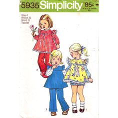 Girls Smock Top Panties Pants Pattern Simplicity 7155 Ruffle Sleeve Top Trousers Toddler Size 4