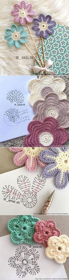 Схемы вязания простых цветочков и звездочек