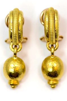 $3500  Elizabeth-Locke-19k-Gold-Hand-Hammered-Dangle-Drop-Earrings