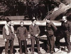 Pilots of No 17 Squadron RAF ease up at RAF Debden in 1940. Posted in on 8 June, P/O Denis H Wissler (first left) flew out to join them at Le Mans the next day. Next to him is P/O Jack K Ross, who arrived in France with the unit on 5 June and returned with them from Dinard on 17 June, reaching the above airfield 2 days later via Jersey and Guernsey.