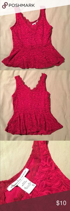 NWOT Red Hot Lace Top Super sexy all over lace top by American Rag. V-Cut neck and back and fit n Flare style around waist. Great for a night out on the town or date night ❤ American Rag Tops