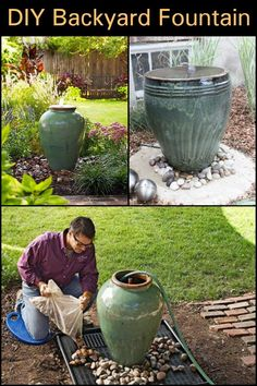 Backyard Fountain This pot plant water feature will give a great effect without a lot of physical labour.This pot plant water feature will give a great effect without a lot of physical labour. Backyard Water Fountains, Diy Water Fountain, Diy Garden Fountains, Ponds Backyard, Water Garden, Backyard Waterfalls, Outdoor Fountains, Garden Ponds, Koi Ponds