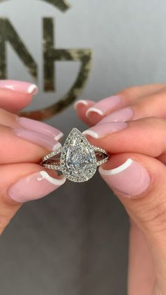 wedding rings Stunning halo pear cut with a pave split shank setting Beautiful Diamond Rings, Gold Diamond Rings, White Gold Diamonds, Diamond Jewelry, Jewelry Rings, Gold Ring, Jewelry Box, Jewelry Accessories, Jewellery