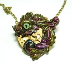 Steampunk Necklace Chinese Koi Victorian by DesignsBloom